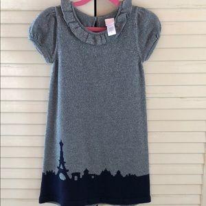 Janie & Jack- silver sparkle sweater dress, sz5